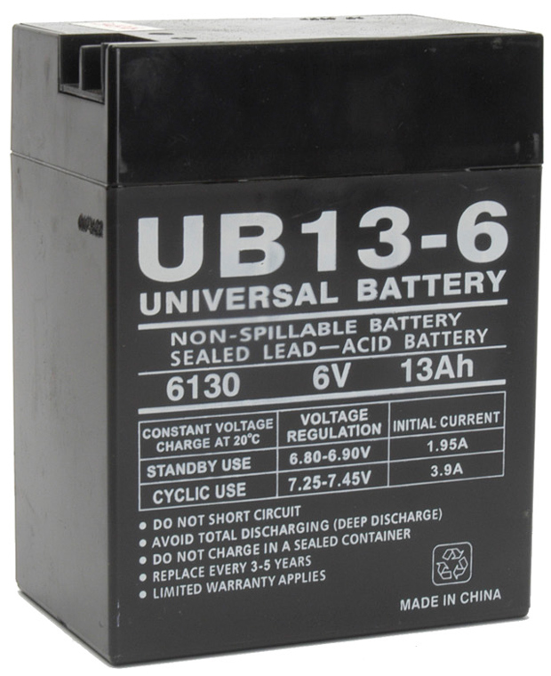 UPG Sealed Lead Acid AGM: UB6130 TOY, 13 AH, 6V