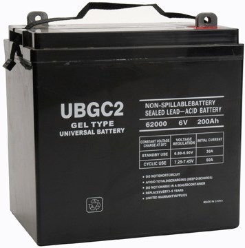 UPG Sealed Lead Acid Gel: UB-GC2 (Golf Cart) Gel, 200 AH, 6V