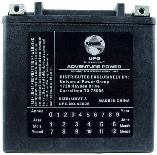 UPG Adventure Power Sealed Lead Acid: UBVT-3, 12 AH, 12V