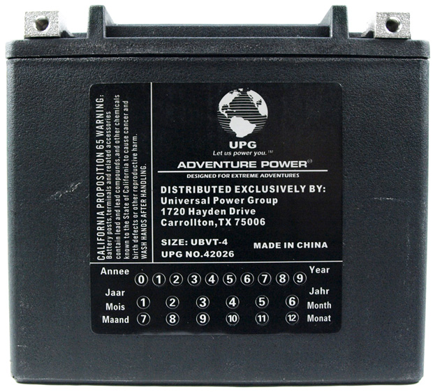 UPG Adventure Power Sealed Lead Acid: UBVT-4, 12 AH, 12V