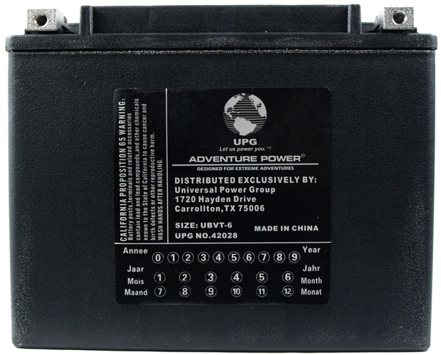 UPG Adventure Power Sealed Lead Acid: UBVT-6, 22 AH, 12V