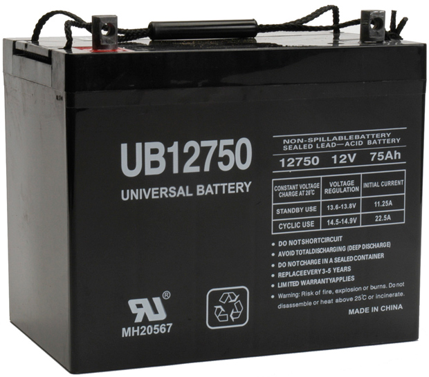 UPG Sealed Lead Acid AGM: UB12750, 75 AH, 12V, Z1