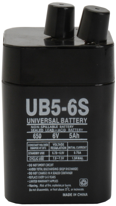 UPG Sealed Lead Acid AGM: UB650S Lantern, 5 AH, 6V