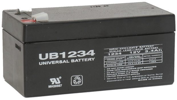 UPG Sealed Lead Acid AGM: UB1234, 3.4 AH, 12V