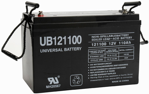UPG Sealed Lead Acid AGM: UB121100, 110 AH, 12V, L3