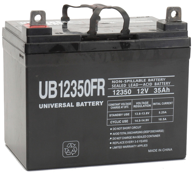 UPG Flame Retardant Sealed Lead Acid AGM: UB12350FR, 35 AH, 12V