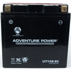 UPG Adventure Power Sealed Lead Acid Dry Charge AGM: UT14B-BS, 12 AH, 12V