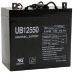 UPG Sealed Lead Acid AGM: UB12550 (+ On Left), 55 AH, 12V, Z1